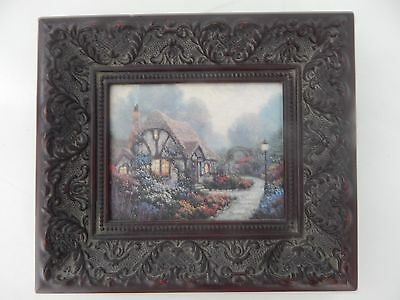 Thomas Kinkade Small Library Print Beautiful Framed Lightpost Publishing Box COA