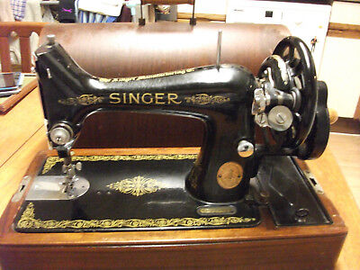 Vintage Cast Iron Singer Model 99k Sewing Machine in Carry Case 1950s
