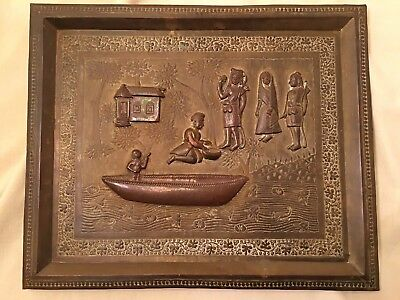 ANTIQUE Vintage Folk Art HIGH RELIEF Brass WALL PLAQUE hand Carved Etched Boat