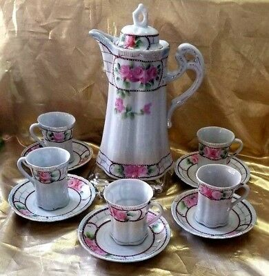 Antique Japanese Rose Teapot Coffee, Chocolate Pot With Cups & Saucers 12 Peice