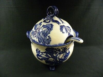 "Flow Blue Soup Tureen w/ Lid & Ladle (14"" High  Ironstone-Staffordshire England)"