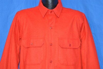 vintage 80s WOOLRICH RED COTTON FLANNEL HEAVY WARM HUNTING CAMP SHIRT LARGE L