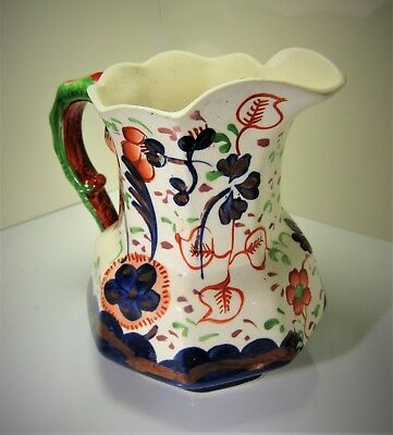 Allertons Gaudy Welsh 1½ pint Jug, Serpent Handle, Floral Pattern: 19th century
