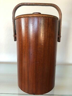 Vintage Thermos Teak Glass Lined Ice Bucket Eames Mid-Century Modern Danish
