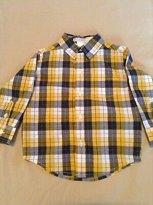Pre-Owned JANIE AND JACK Boys Yellow Plaid Button-Down Dress Shirt, Sz 12-18 Mo