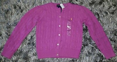 NWT! Polo Ralph Lauren Girls Mini Cable Cotton Sweater, Size 6 Dark pink