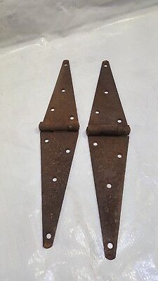 "Vintage Steel Strap Hinges 2 Large Barn Gate Door 16"" Antique Victorian wheel"