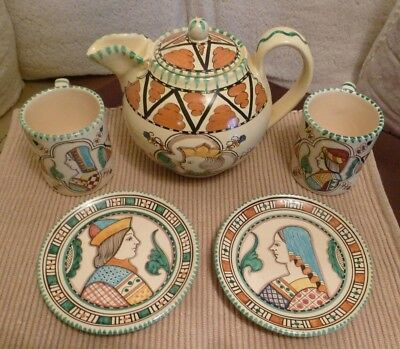 Lot of 6 Pieces of Italian Art Pottery Face Portrait Orvieto Italy