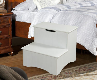 Kings Brand White Finish Wood Bedroom Step Stool With Storage New