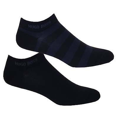 Hugo Boss 2-Pack Combed Cotton Stripe Men's Trainer Socks, Navy/blue