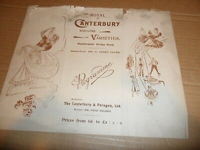 CANTERBURY Music Hall THEATRE 1896 WENTWORTH ELMORE TRAVIS Ventriloquist NOLAN A