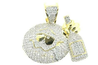 14 Yellow Gold Plated Hip Hop Bling Iced out CZ Apple Drunk Emoji Charm w/ Chain