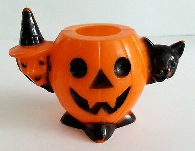 Vintage Rosbro Plastic Halloween Candy Container Witch Black Cat Jack O Lantern