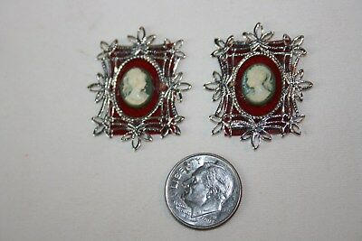 Miniature Dollhouse Pr Faux Jasperware Cameos in Silver Color Filigree Frames NR