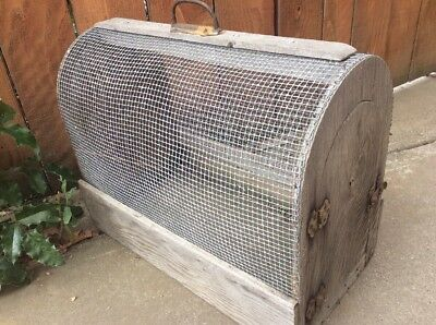 Vintage Small Animal Cage Farmhouse Pet Carrier - Mesh & Wood w Ornate Hardware
