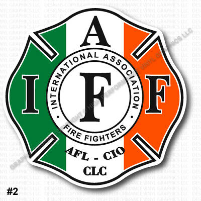"""IAFF Union Firefighter Decal 3.7/"""" RETIRED Green Yellow White Laminated 0342"""