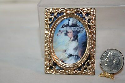 Miniature Dollhouse Victorian Lady at Sunset Print Ornate Gold Frame 1:12 NR