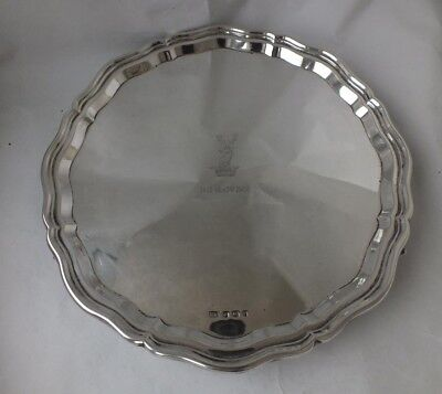 Crested Solid Sterling Silver Salver/ Tray 1932/ Dia 25 cm/ 529 g