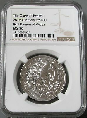 2018 PLATINUM 1oz GREAT BRITAIN 100 PDS RED DRAGON OF WALES NGC MINT STATE 70