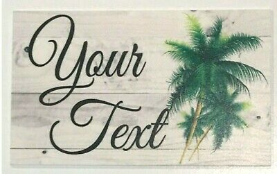 Beach House Custom Personalised Name Tropical Palm Tree Sign Wall Plaque Hanging
