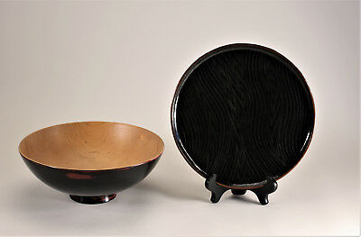 Vintage Black Lacquer Wood Bowl Signed CP and Plate Midcentury Modern