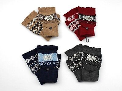 Womens Fingerless Gloves Mittens with Cover, Rhinstones