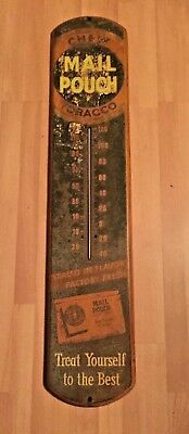 Mail Pouch Chew Tobacco Thermometer ~ Vintage ~Metal