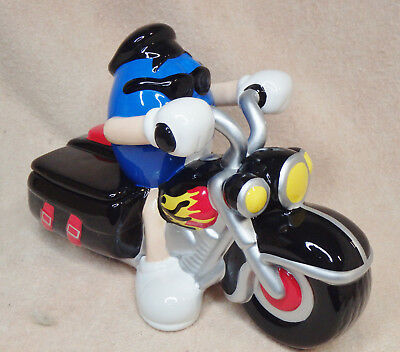 2003 M&M Ceramic Blue M&M Riding Motorcycle Covered Candy Dish