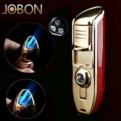 Jobon Classic Windproof Triple Jet Flame RefillableButane Cigar Torch Lighter US