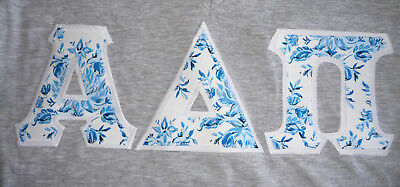 Alpha Delta Pi Gray Top T-Shirt Sewn Blue FLoral Letters New Small Medium Large