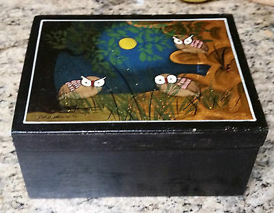 Vintage Tonala Mexian Wood Box W/ Lacquer Painted Lid - Signed Diaz Mexico