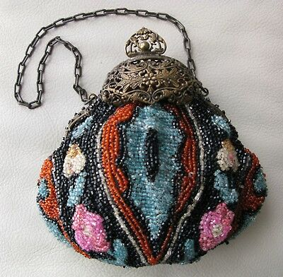 Antique Art Nouveau Gold Filigree Floral Frame Orange Pink Blue Bead Puffy Purse