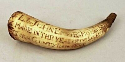 Important Tryon County Rangers Powder Horn 1774 New York