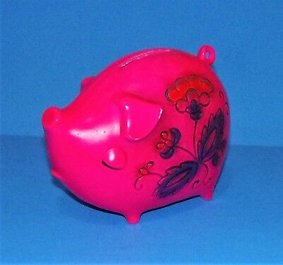 Vintage Retro Hot Pink Piggy Bank With Flowers