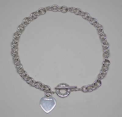 """Tiffany & Co Heart Tag Sterling Silver .925 Toggle Necklace 16"""""""
