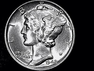 mercury dime 1942-p 10 Cents  IN  UNC COND FSB. GREAT DETAILS (FREE SHIPPING) ++