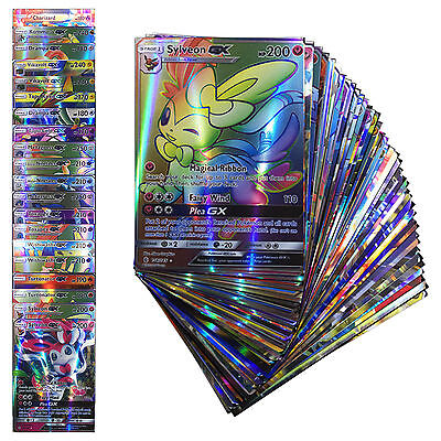 Pokemon TCG :100 Holo Flash Card Lot Rare 20 GX+80 EX Cards Gifts For KID