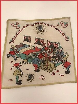 Antique Children's German Snow White 7 Dwarfs Handkerchief/ Hankie Grimm Fairy