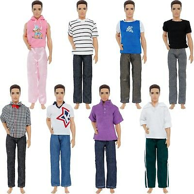 6 Sets Handmade T-shirt And Pant Outfits Clothes Accessories For Barbie Ken Doll