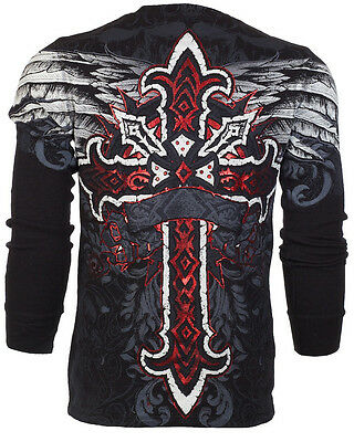 ARCHAIC by AFFLICTION Men LONG SLEEVE THERMAL Shirt RED FLAG Cross Biker UFC $58