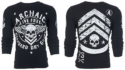 ARCHAIC by AFFLICTION Mens LONG SLEEVE THERMAL Shirt STRONG CREST Biker $58
