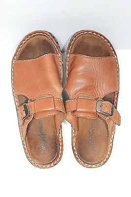 Minnetonka Moccasin Womens 6 Medium Brown Leather Buckle Slide Mules Sandals
