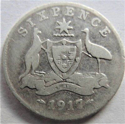 1917 M George V Sixpence Grading VERY GOOD.