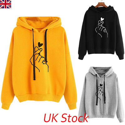 UK Womens Long Sleeve Hooded Hoodie Tops Blouse Ladies Autumn Winter Sweatshirt