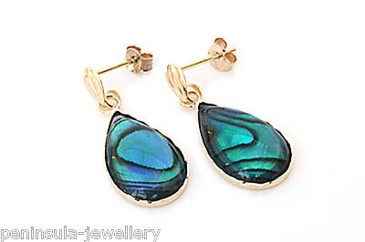 9ct Gold Blue Abalone Teardrop dangly earrings Gift Boxed Made in UK