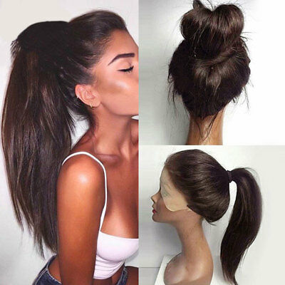 Women Synthetic Wig Long Ponytails Straight Lace Frontal Wigs Full Wigs Fashion