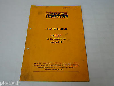 Parts Catalog Howard Rotavator Series P with Standargetriebe and Pmu 30, st 1972
