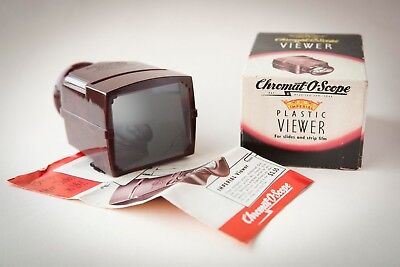Vintage 1945 Imperial Chromat-O-Scope Slide and Strip Film Viewer w/Box, Flier