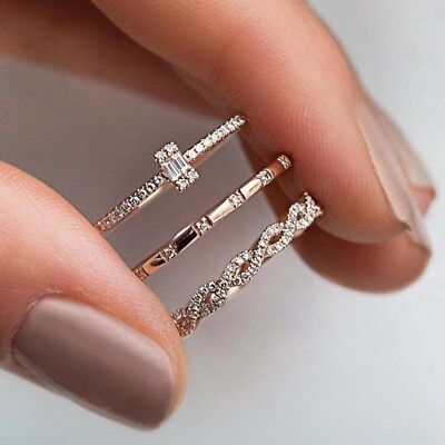 Hot 3Pcs/Set Geometry Intersect Crystal Rings Set For Women Girls Jewelry Gifts