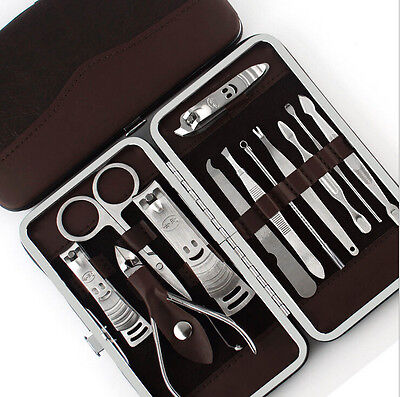 12 PCS Nail Clippers Cleaner Cuticle Grooming Kit Case Pedicure / Manicure Set